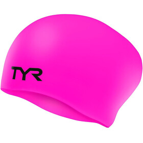 TYR Wrinkle-Free Silicone Long Hair Swimming Cap Kinder fluo pink